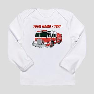 Custom Red Fire Truck Long Sleeve T-Shirt