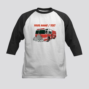 Custom Red Fire Truck Baseball Jersey