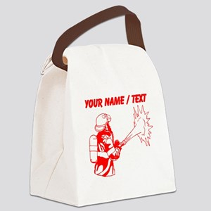 Custom Red Firefighter Canvas Lunch Bag