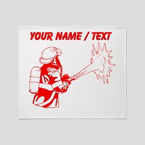 Custom Red Firefighter Throw Blanket