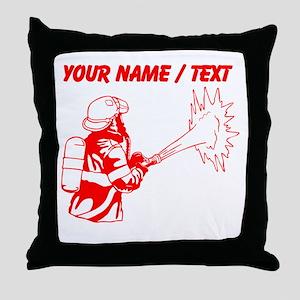 Custom Red Firefighter Throw Pillow