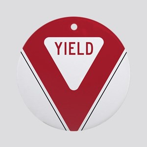 Yield Sign Ornament (Round)
