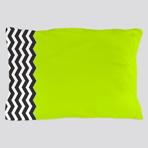 Lime Green black and white Chevron Pillow Case
