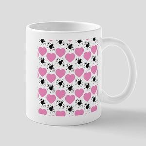 Pink Hearts Black Ladybugs Mugs