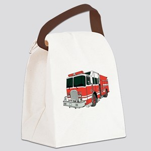 Red Fire Truck Canvas Lunch Bag