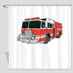 Red Fire Truck Shower Curtain