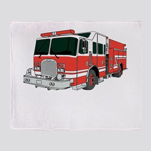 Red Fire Truck Throw Blanket
