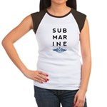 Submarine Stacked with Dolphins Women's Cap Sleeve