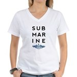 Submarine Stacked with Dolphins Women's V-Neck T-S