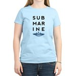 Submarine Stacked with Dolphins Women's Light T-Sh