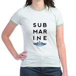 Submarine Stacked with Dolphins Jr. Ringer T-Shirt