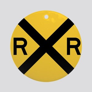 Rail Road Crossing Ornament (Round)