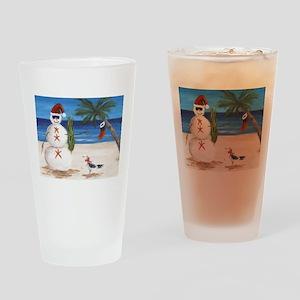 Christmas Beach Sandman Drinking Glass