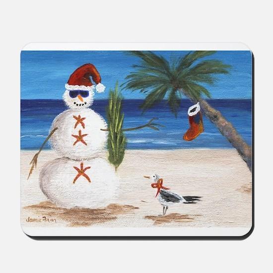 Christmas Beach Sandman Mousepad
