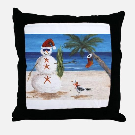 Christmas Beach Sandman Throw Pillow