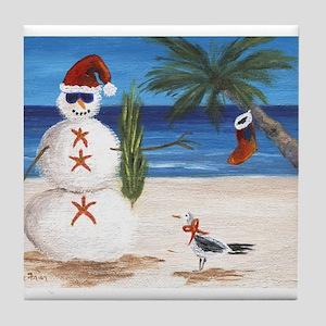 Christmas Beach Sandman Tile Coaster
