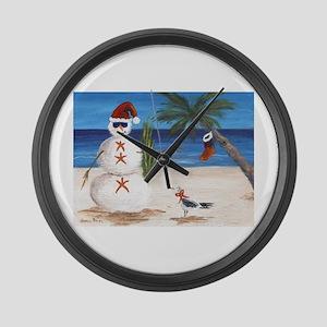 Christmas Beach Sandman Large Wall Clock
