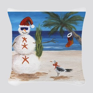 Christmas Beach Sandman Woven Throw Pillow