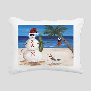 Christmas Beach Sandman Rectangular Canvas Pillow