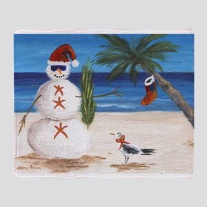 Christmas Beach Sandman Throw Blanket