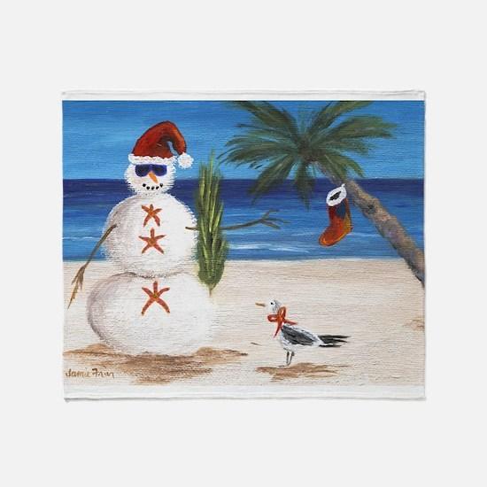 Christmas Beach Sandman Throw Blanket