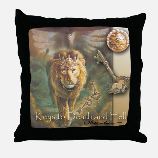 """""""Keys to Death and Hell"""" Lion Christian Art Pillow"""