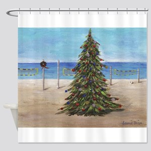 Christmas Beachy Tree Shower Curtain