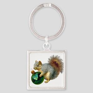 Squirrel Ornament Square Keychain