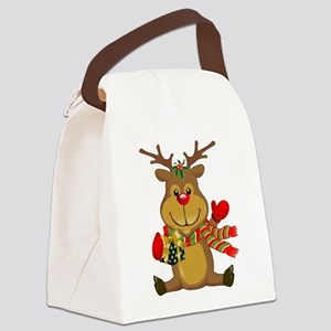 Sitting Reindeer w Package Scarf Canvas Lunch Bag