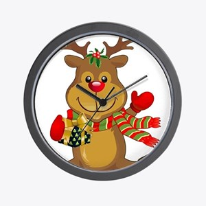 Sitting Reindeer w Package Scarf Wall Clock