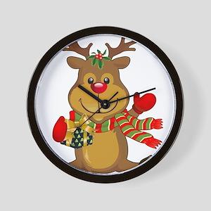 Sitting Reindeer w Package Scarf Wall Clock