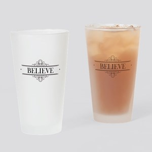 Believe Calligraphy Drinking Glass