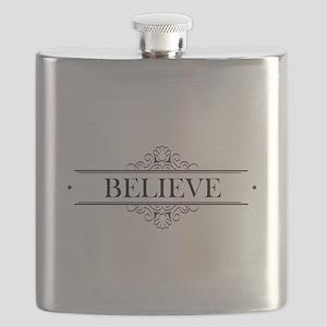 Believe Calligraphy Flask