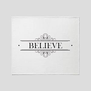 Believe Calligraphy Throw Blanket