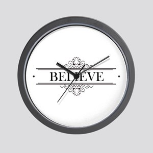Believe Calligraphy Wall Clock