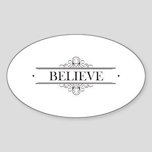 Believe Calligraphy Sticker (Oval)