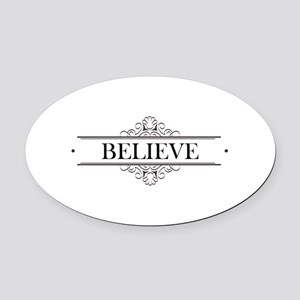 Believe Calligraphy Oval Car Magnet