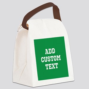 Custom Sports Text Green White Canvas Lunch Bag