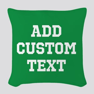 Custom Sports Text Green White Woven Throw Pillow