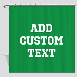 Custom Sports Text Green White Shower Curtain