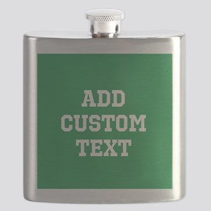 Custom Sports Text Green White Flask