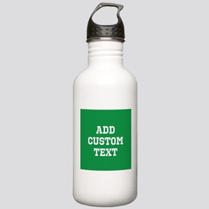 Custom Sports Text Green White Water Bottle