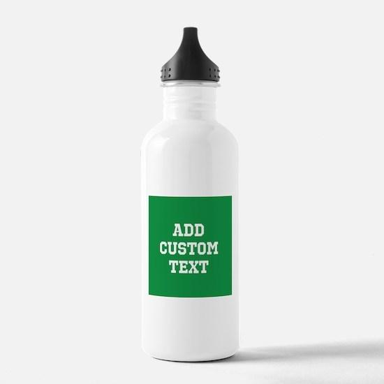 Custom Sports Text Green White Water Bottle
