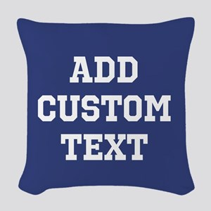 Custom Sports Text Blue White Woven Throw Pillow