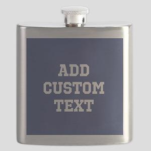 Custom Sports Text Blue White Flask