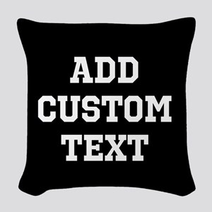 Custom Sports Text Black and White Woven Throw Pil