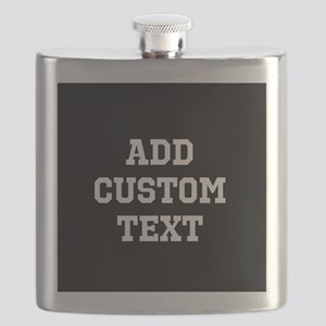 Custom Sports Text Black and White Flask