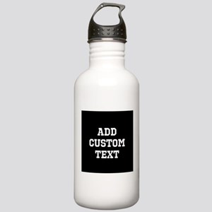 Custom Sports Text Black and White Water Bottle