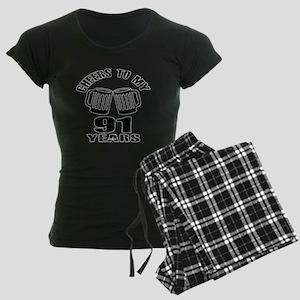 Cheers To My 91 Years Birthd Women's Dark Pajamas