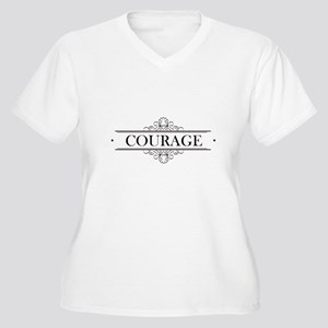 Courage Calligraphy Women's Plus Size V-Neck T-Shi